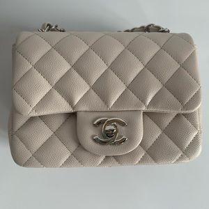 Chanel Mini Caviar Square 18B Ivory White SHW
